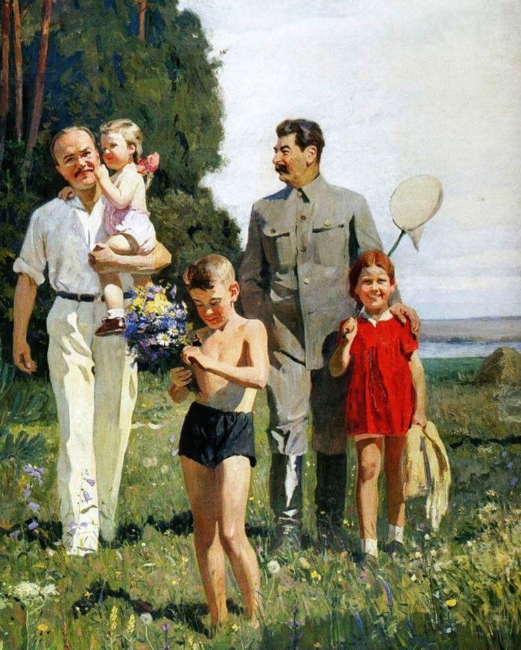 """Wasyl Prokofiejewicz Jefanow """"Stalin i Mołotow z dziećmi"""". Socrealistyczny obraz propagandowy w 1947 roku."""