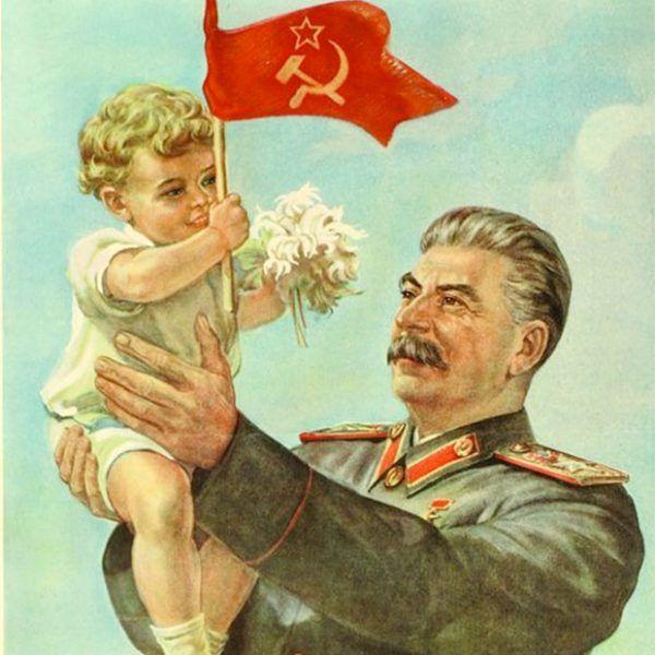 """""""Opieka Stalina rozświetla przyszłość naszych dzieci"""". Plakat Irakliego Toidze z 1947 roku."""
