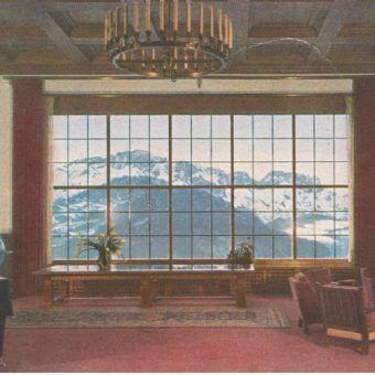 Widok z okna górskiego domu Hitlera. Pocztówka propagandowa.
