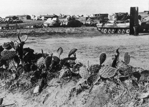 Po dotarciu do Palestyny problemem 2. Korpusu stały się dezercje starozakonnych żołnierzy. Dowództwo nie miało jednak najmniejszego zamiaru ich ścigać. Na zdjęciu widać 6. Pułk Pancerny Dzieci Lwowskich w Palestynie.