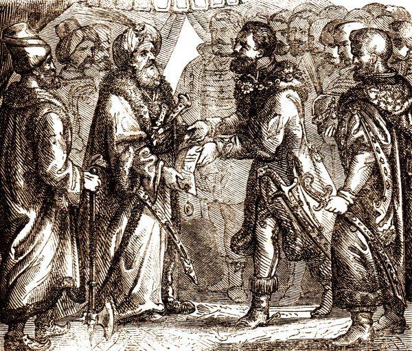 Po powrocie Izabeli Jagiellonki do Siedmiogrodu Stefan Batory stał się wiernym stronnikiem jej syna Jana Zygmunta Zapolyi. Nie spodziewał się, że w przyszłości zostanie następcą Zapolyi w Siedmiogrodzie, a potem poślubi jego ciotkę... XIX-wieczna rycina Fényesa Eleka, przedstawiająca spotkanie Jana Zygmunta z sułtanem Sulejmanem II Wspaniałym w 1566 roku.