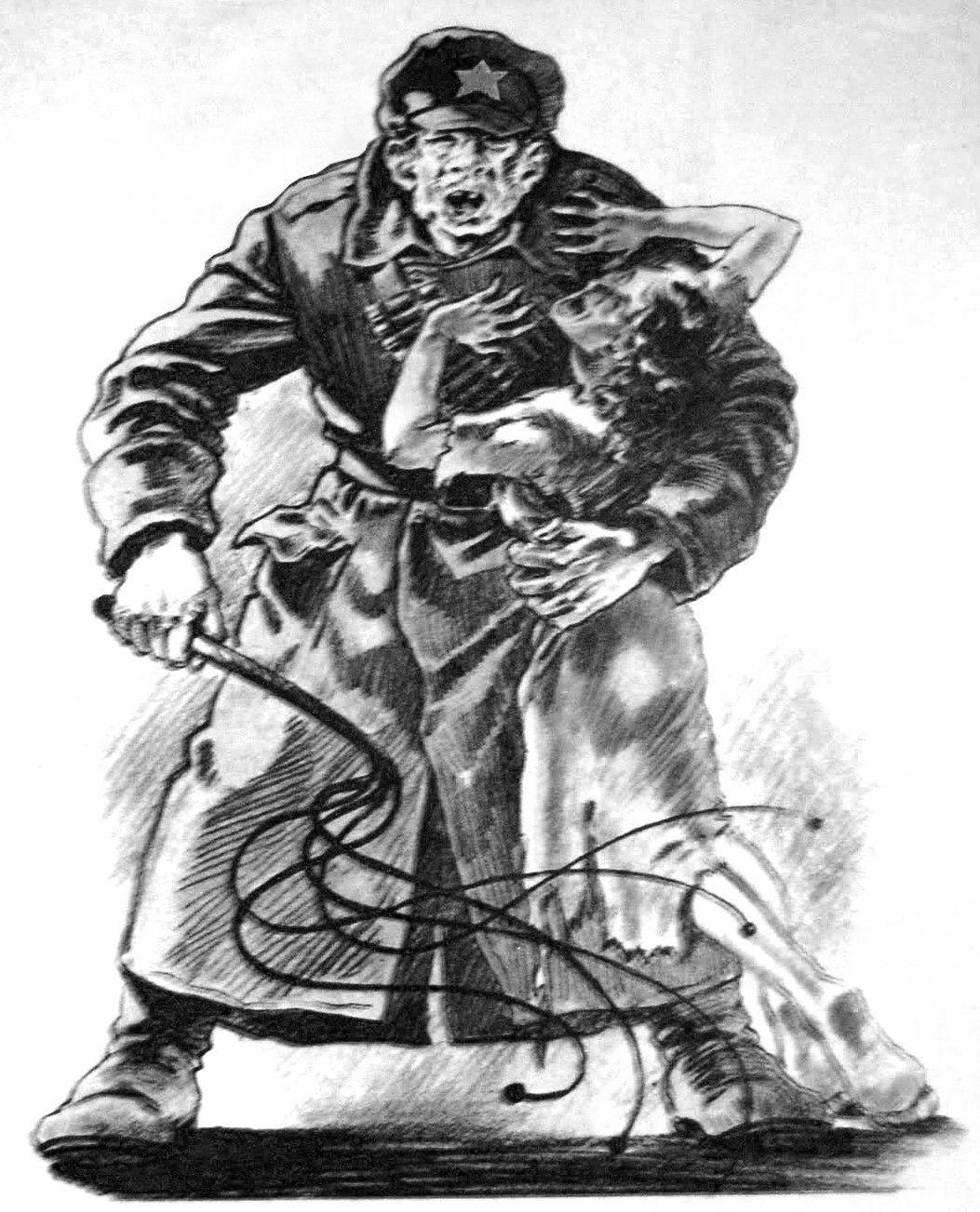 """Czasami przed gwałtem mogło uchronić głośne wzywane pomocy. Ilustracja z książki Dariusza Kalińskiego pod tytułem """"Czerwona zaraza""""."""