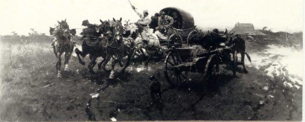 """Malarstwo Józefa Brandta, uważanego za przedstawiciela szkoły monachijskiej, również stało się celem Nazistów. Na zdjęciu zaginione dzieło """"Wyjazd na polowanie""""."""