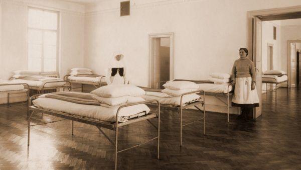 Sala szpitala w Kobierzynie. Zdjęcie przedwojenne.