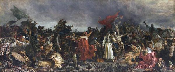 Bitwa pod Cecorą skończyła się klęską Rzeczpospolitej i śmiercią hetmana Żółkiewskiego. Obraz autorstwa Witolda Piwnickiego.