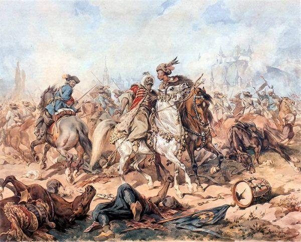 Tak bitwę pod Parkanami przedstawił Juliusz Kossak.