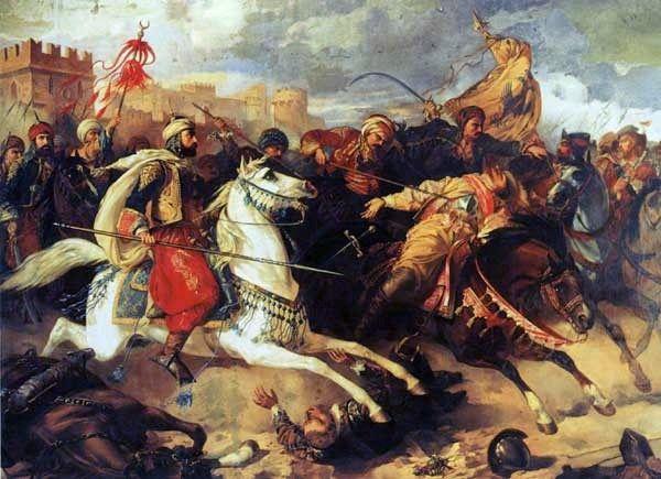 Pisząc o batalii z Turkami Długosz podkreślał męstwo młodego monarchy. Na ilustracji bitwa pod Warną pędzla Stanisława Chlebowskigo.