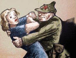 """Wkraczający czerwonoarmiści zgwałcili dziesiątki tysięcy Polek. Ilustracja z książki """"Czerwona zaraza""""."""