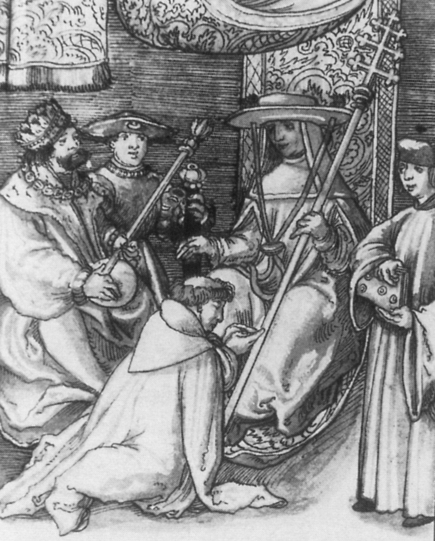 Lucjusz II dostał uderzenie kamieniem podczas walk o Kapitol. Zginął od ran po kilku dniach męczarni. Na tej XVI-wiecznej niemieckiej miniaturce widzimy arcybiskupa Magdeburga Norberta von Xanten, u stóp tego papieża.