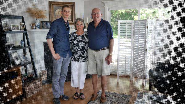 Jacek Tacik na spotkaniu z Joanne Kenjarski - córką Ann Odre - i jej mężem Thomasem.