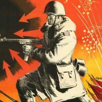 Fragment sowieckiego plakatu propagandowego.