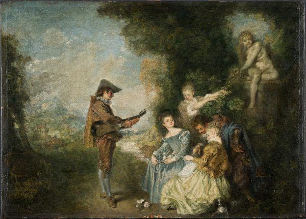 """Muzyka była ważnym elementem rokokowego ars amandi. Na obrazie """"Lekcja miłości""""Jean-Antoine'a Watteau."""