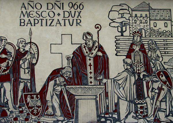 Dobrawa nie tylko skłoniła Mieszka do oblania głowy wodą chrztu. Sama też chętnie korzystała z wody, chociażby w saunie. Na ilustracji współczesny mural.
