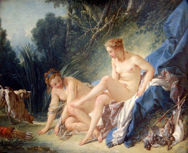 """Niektórzy autorzy książek erotycznych nie chcieli przyznawać się do tego rodzaju pisarstwa i sugerowali, że parają się tym kobiety. Na obrazie """"Diana wychodząca z kąpieli"""" pędzla François Bauchera."""