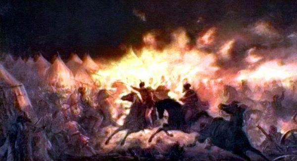 Nocny atak Drakuli na turecki obóz. Obraz Theodora Amana.