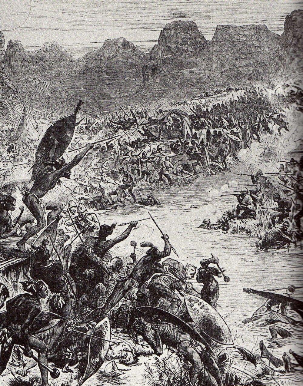 Starcie nad rzeką Intombe na grafice z epoki.