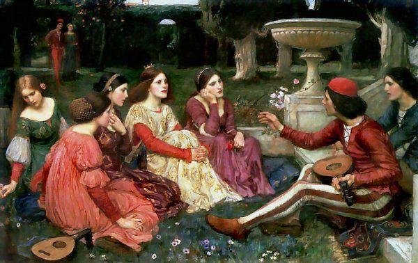 """Mieszkańcy renesansowej Florencji, aby zapomnieć o dżumie, zabawiali się pikantnymi opowieściami. Opowiada o tym """"Dekameron"""" Boccaccia. Na ilustracji obraz Johna Williama Waterhouse'a."""