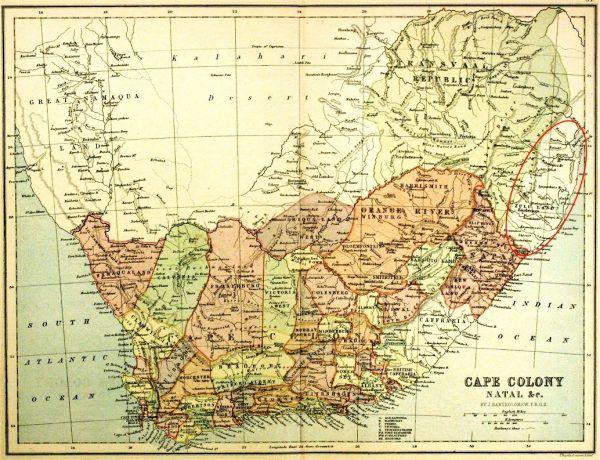 Królestwo Zulusów na mapie z 1876 roku.