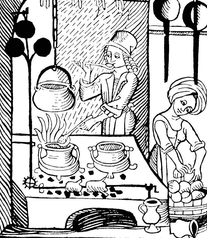 """Czyżby gotowano tu barszcz? Nawet jeśli, to na pewno nie z buraków! Drzeworyt pochodzi z """"Kuchenmaistrey"""", opublikowanej w 1485 roku pierwszej książki kucharskiej wydrukowanej w Niemczech."""