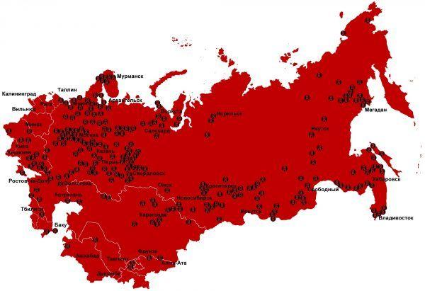 System obozów GUŁAG ciągnął się przez cały Związek Radziecki. Na zdjęciu miejsca zsyłki w latach 1923 - 1961.