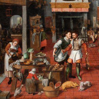 """Na ilustracji fragment obrazu Martena van Cleve Starszego """"Wnętrze kuchni""""."""