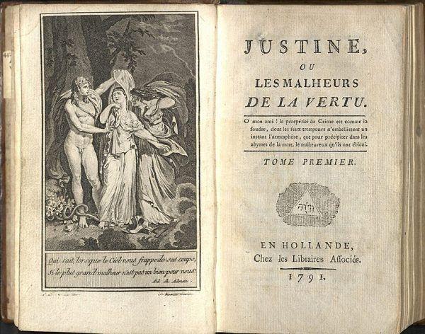 W pałacowych komnatach i klasztornych refektarzach libertyni urządzali orgie – nierzadko bardzo brutalne. Na zdjęciu ilustracja do książki markiza de Sade pod tytułem Justyna czyli niedole cnoty z 1797 roku.