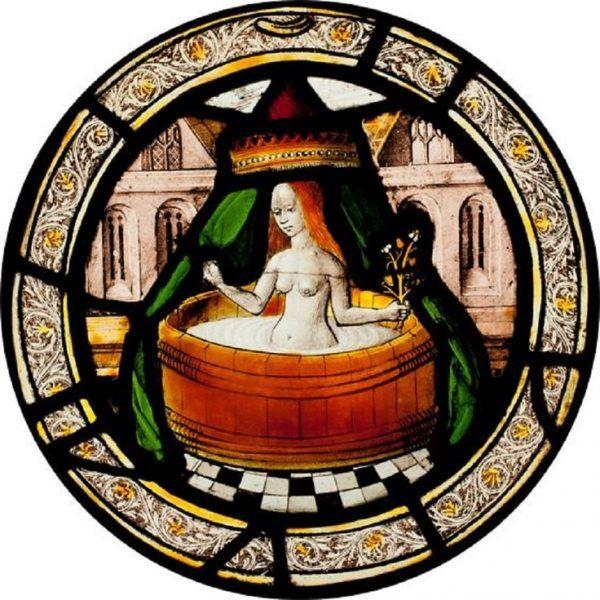 Kąpiel w balii pod baldachim. Angielska mozaika z początków XVI wieku.