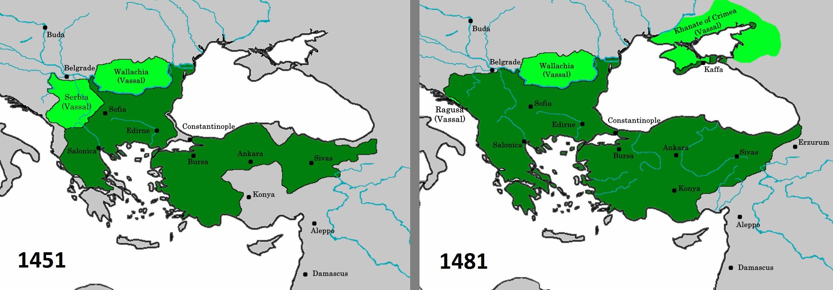 Terytorium Imperium Osmańskiego przed i pod koniec panowania Mehmeda II Zdobywcy. Prowadząc walkę na kilku frontach zdobył nowe ziemie dla swojego państwa.
