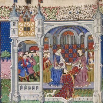 Średniowieczne luksusy na jednej ilustracji. Małżeństwo Henryka VI, króla Anglii, z Małgorzatą Andegaweńską, The Shrewsbury Book, Rouen, 1444–45.