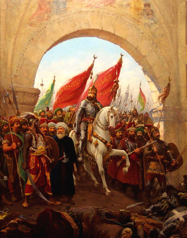 Tak, w XIX wieku, włoski malarz Zonaro wyobrażał sobie wjazd Mehmeda II Zdobywcy do Konstantynopola. W rzeczywistości nie wyglądało to tak pięknie. Armia młodego sułtana doszczętnie splądrowała miasto.