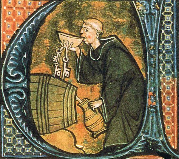 """Skoro nie było wódki, smutki zapijano winem. Na tej XIII-wiecznej ilustracji z """"Żywotów świętych"""" Aldobrandina ze Sieny widzimy opata testującego ten trunek."""