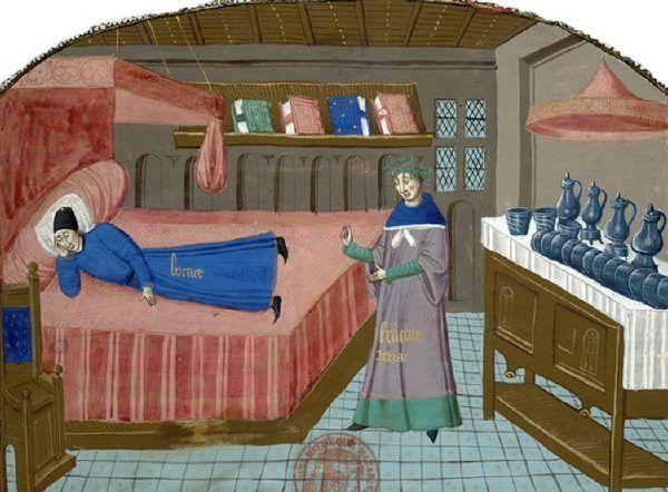 """Średniowieczne łoże - wygodne i komfortowe. Miniatura z """"Cas des nobles hommes et femmes"""", ok. 1470-1480 roku."""