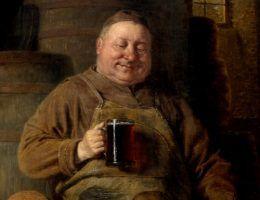Obraz z serii poświęconej mnichom i piwu, autor Eduard von Grützner (zdjęcie domena publiczna).