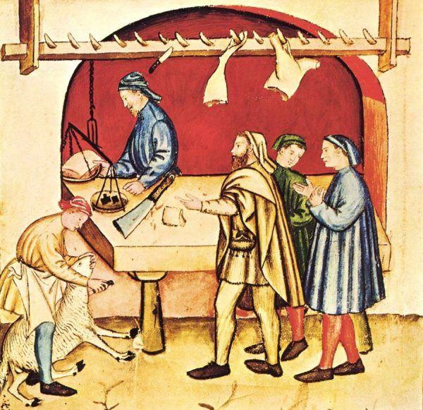 """W średniowiecznym mięsnym nie sposób było dostać piersi z indyka. Ilustracja z XIV-wiecznego podręcznika zdrowego stylu życia """"Tacuinum sanitatis""""."""