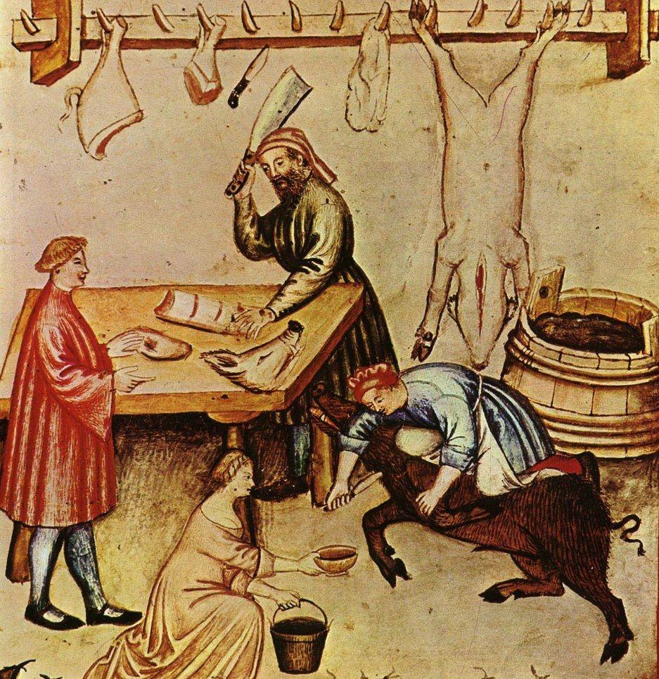 """Wieprzowinę w średniowieczu jedzono, choć niezbyt ceniono. I nie w formie schaboszczaka! Ilustracja z XIV-wiecznego podręcznika zdrowego stylu życia """"Tacuinum sanitatis""""."""