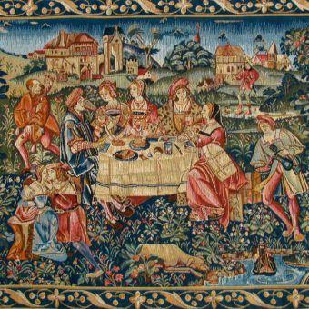 Na średniowiecznym stole nie znaleźlibyśmy wielu naszych ulubionych dań. Na ilustracji fragment arrasu przedstawiającego bankiet.