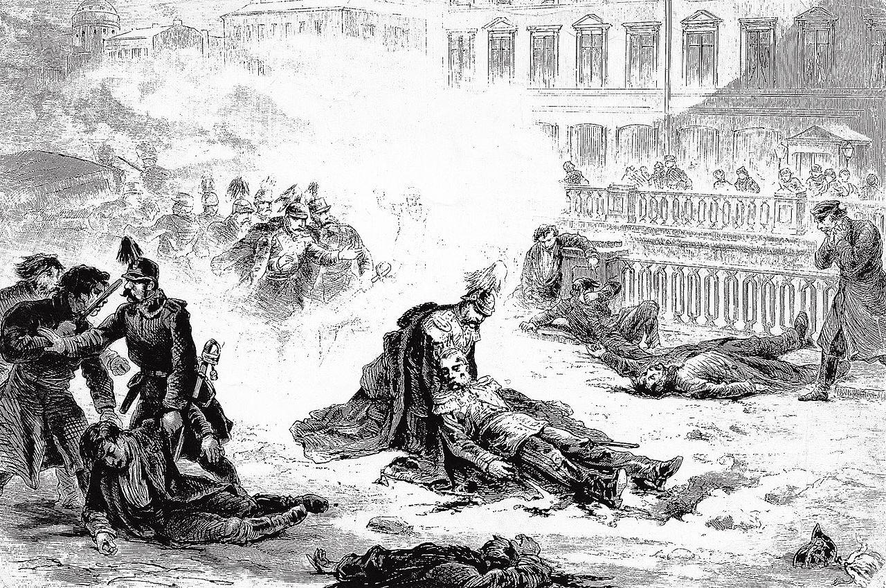Grafika Gustava Brolinga przedstawiająca zamach na Aleksandra II.