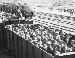 Transport sowieckich jeńców we wrześniu 1941 roku. Wielu żołnierzy ZSRR, wziętych do niewoli przez wojska III Rzeszy, umierało już w trakcie podróży do obozów.