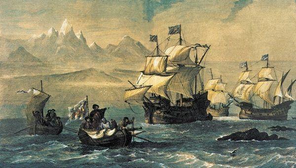 Statki Magellana przepływające przez cieśninę na południe od Patagonii.