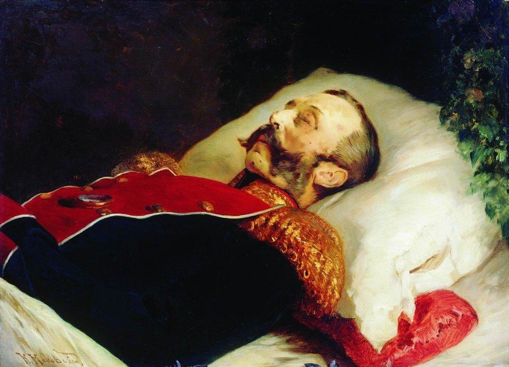 """Konstantin Makowski, """"Portret Aleksandra II na łożu śmierci"""" (1881 r.)."""