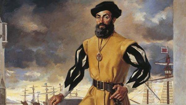 Ferdynand Magellan, a w tle flota ufundowana przez Fuggerów.