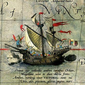 Jeden z okrętów wyprawy Magellana na detalu mapy z 1590 roku.