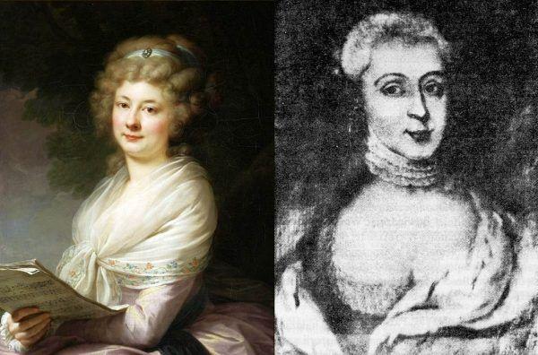 Po lewej portret Urszuli Dembińskiej, autorstwa Johanna Baptisty Lampi Starszego. Po prawej portret z epoki Anny Jabłonowskiej. Obydwie panie świetnie zarządzały swoimi majątkami.