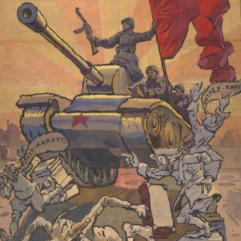Czerwonoarmiści nie tylko Niemców rozjeżdżali swoimi czołgami. Fragment sowieckiego plakatu wojennego z 1945 roku.