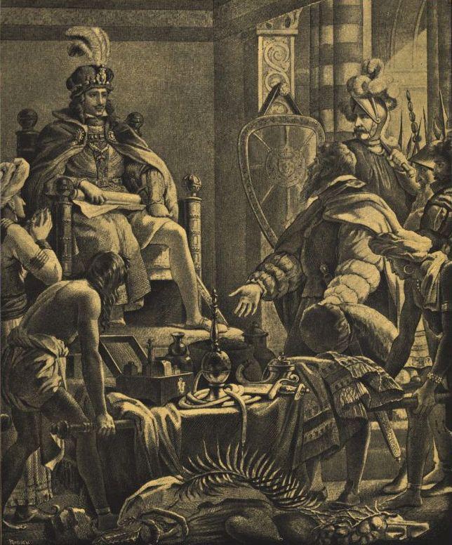 Manuel I Szczęśliwy. Tutaj z Vasco da Gamą - innym wielkim podróżnikiem tej epoki.