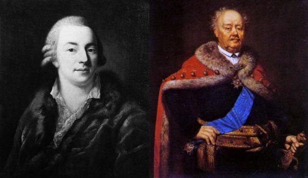 Niestety Casanovie udało się Branickiego tylko ciężko ranić. Po lewej portret słynnego uwodziciela pędzla Alessandro Longhi z 1774 roku. Po prawej portret słynnego zdrajcy pędzla Jánosa Rombauera z 1818 roku.