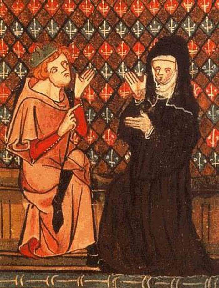 """Abelard i Heloiza, ilustracja z XIV-wiecznego rękopisu """"Powieści o Róży""""."""