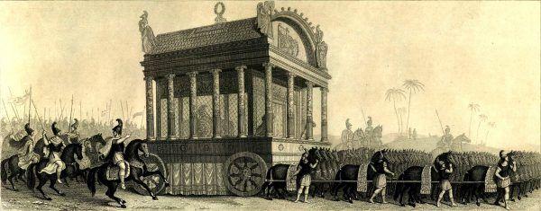 XIX-wieczne przedstawienie pogrzebowego procesu Aleksandra. Tak wyobrażano sobie odejście jednego z największych wodzów w historii starożytnego świata.