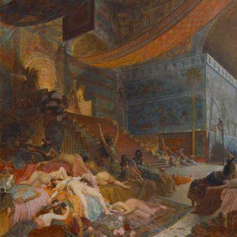 """Czyżby Babilon był rzeczywiście najbardziej rozwiązłą stolicą w dziejach starożytnego świata? Dolegliwości weneryczne mieszkańców mówią aż nazbyt wiele... Na ilustracji fragment obrazu Georgesa Rochegrosse'a """"Śmierć Babilonu""""."""