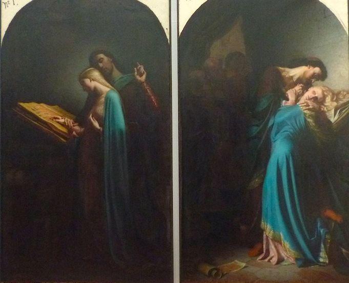 """""""Nad otwartymi zwojami więcej było mowy o miłości niż o nauce, więcej pocałunków niż uczonych sentencji"""". Léon-Marie-Joseph Billardet, """"Abelard Nauczający Heloizę"""" i """"Abelard i Heloiza zaskoczeni przez Fulberta"""", dyptyk z 1847 r."""